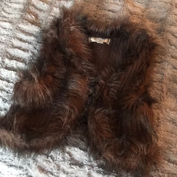 Decree Jackets & Blazers - Faux fur vest M brown knit furry trim boho vegan